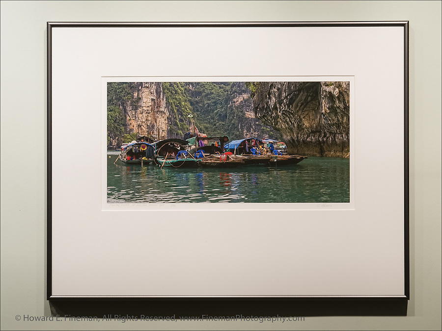 "Floating Village in Ha Long Bay in Gulf of Tonkin, Vietnam. This finished print shows how I typically mat and frame panoramic images. This print was selected for the Newton Open Studios ""Invitational"" showcasing work of artists who previously received top juror awards."