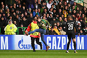 12th September 2017, Glasgow, Scotland; Champions League football, Glasgow Celtic versus Paris Saint Germain;  A Celtic SUPPORTER gets onto the pitch to take an air shot on goal