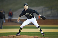 Wake Forest Demon Deacons relief pitcher William Fleming (38) in action against the Illinois Fighting Illini at David F. Couch Ballpark on February 16, 2019 in  Winston-Salem, North Carolina.  The Fighting Illini defeated the Demon Deacons 5-2. (Brian Westerholt/Four Seam Images)