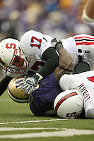 11 November 2006: Carlos McFall and Pannel Egboh during Stanford's 20-3 win over the Washington Huskies in Seattle, WA.