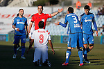 Getafe´s Roberto Lago and Sevilla´s Bacca during 2014-15 La Liga match at Alfonso Perez Coliseum stadium in Getafe, Spain. February 08, 2015. (ALTERPHOTOS/Victor Blanco)