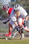 Palos Verdes, CA 03/30/10 - Blake Allman (Peninsula #21) and Justin Lim (Palos Verdes #14) in action during the Palos Verdes-Peninsula Varsity CIF Boys lacrosse game at Peninsula HS.