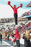 College Park, MD - November 26, 2016: Rutgers Scarlet Knights cheerleaders in action during game between Rutgers and Maryland at  Capital One Field at Maryland Stadium in College Park, MD.  (Photo by Elliott Brown/Media Images International)