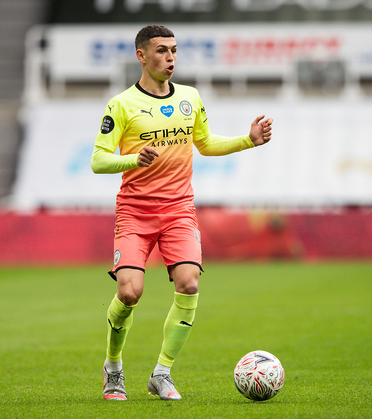 Manchester City's Phil Foden in action<br /> <br /> Photographer Alex Dodd/CameraSport<br /> <br /> FA Cup Quarter-Final - Newcastle United v Manchester City - Sunday 28th June 2020 - St James' Park - Newcastle<br />  <br /> World Copyright © 2020 CameraSport. All rights reserved. 43 Linden Ave. Countesthorpe. Leicester. England. LE8 5PG - Tel: +44 (0) 116 277 4147 - admin@camerasport.com - www.camerasport.com