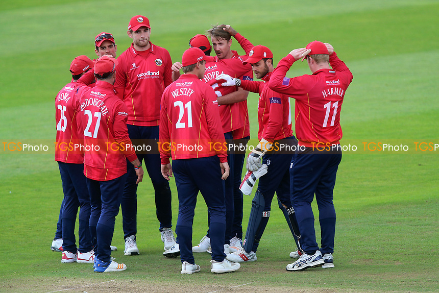Matt Quinn of Essex is congratulated by his team mates after taking the wicket of Johann Myburgh during Somerset vs Essex Eagles, Royal London One-Day Cup Cricket at The Cooper Associates County Ground on 14th May 2017