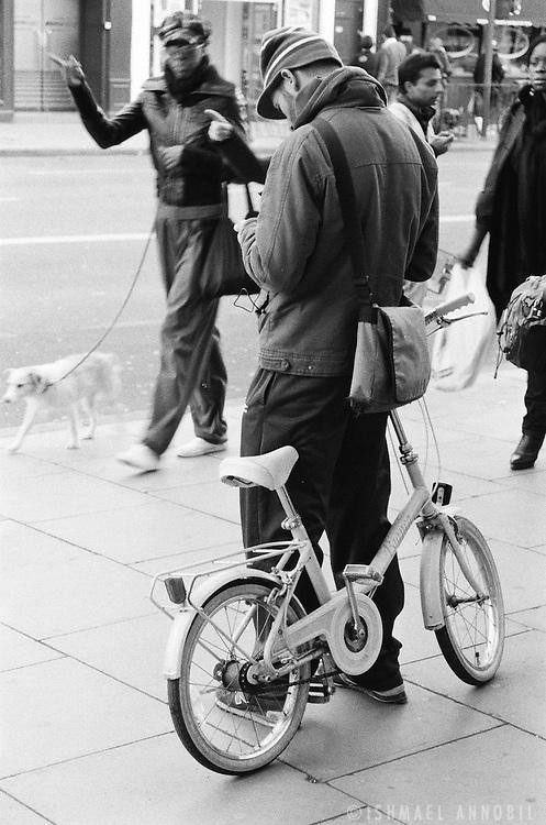 White dog, white bike, Camden Town, London