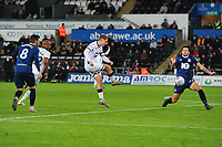 George Byers of Swansea City has a shot during the Sky Bet Championship match between Swansea City and Blackburn Rovers at the Liberty Stadium in Swansea, Wales, UK. Wednesday 11 December 2019