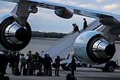 United States President Donald J. Trump with first lady Melania Trump and his son Barron Trump arrives aboard Air Force One in Andrews Air Force Base, Maryland, as he returns from Mar-a Lago in Palm Beach, Florida on April 21, 2019.<br /> Credit: Oliver Contreras / Pool via CNP