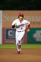 Auburn Doubledays shortstop Carter Kieboom (9) running the bases during a game against the Connecticut Tigers on August 8, 2017 at Falcon Park in Auburn, New York.  Auburn defeated Connecticut 7-4.  (Mike Janes/Four Seam Images)