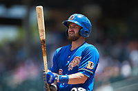 Nick Ciuffo (19) of the Durham Bulls at bat against the Charlotte Knights at BB&T BallPark on May 27, 2019 in Charlotte, North Carolina. The Bulls defeated the Knights 10-0. (Brian Westerholt/Four Seam Images)
