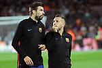League Santander 2017/2018. Game: 03.<br /> FC Barcelona vs RCD Espanyol: 5-0.<br /> Gerard Pique &amp; Jordi Alba.