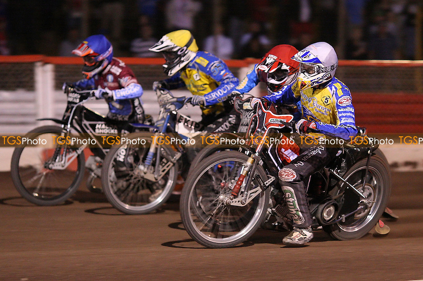 Heat 15: Joonas Kylmakorpi (white), Adam Shields (red), Matej Zagar (yellow) and Lee Richardson (blue) - Lakeside Hammers vs Eastbourne Eagles, Elite League Speedway at the Arena Essex Raceway, Purfleet - 25/06/10 - MANDATORY CREDIT: Rob Newell/TGSPHOTO - Self billing applies where appropriate - 0845 094 6026 - contact@tgsphoto.co.uk - NO UNPAID USE.