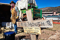 In October, the 22nd Annual Lincoln County Cowboy Symposium brought together  chuckwagon crews and cooks from ranches all over the southwest to compete in preparing food for a hungry crowd. A sign at the Calk Chuck Wagon from El Paso warns visitors about the cook.