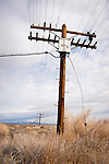 Telephone lines and poles along the UP line in Nevada's Big Empty