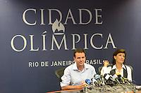 RIO DE JANEIRO, RJ, 03 AGOSTO 2012 -QUATRO ANOS PARA OS JOGOS OLIMPICOS RIO 2016 - O prefeito Eduardo Paes e a presidente da Empresa Olimpica Municipal, Maria Silvia Bastos Marques, em entrevista coletiva, nesta sexta-feira, 3 de agosto, para marcar os quatro anos para os Jogos Olimpicos Rio 2016. De Londres, via satelite, participam da coletiva o presidente do Comite Organizador dos Jogos Olimpicos e Paralimpicos,  Carlos Arthur Nuzman, e o diretor-geral do Comite Organizador dos Jogos Olímpicos e Paralímpicos, Leonardo Gryner. Durante a coletiva foi feita uma apresentacao do projeto Olimpico e de como a cidade esta se preparando para sediar os Jogos, no centro de operacoes, no Estacio, zona norte do rio .(FOTO: MARCELO FONSECA / BRAZIL PHOTO PRESS).