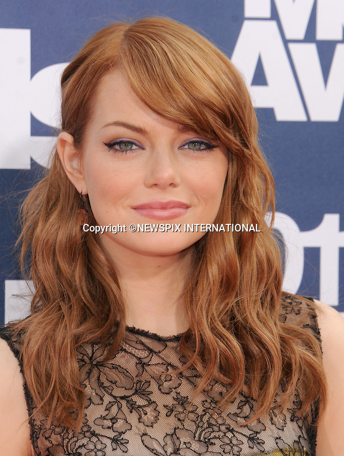 "EMMA STONE.attends the 2011 MTV Movie Awards at the Gibson Amphitheatre on June 5, 2011 in Universal City, California.Mandatory Photo Credit: ©Crosby/Newspix International. .**ALL FEES PAYABLE TO: ""NEWSPIX INTERNATIONAL""**..PHOTO CREDIT MANDATORY!!: NEWSPIX INTERNATIONAL(Failure to credit will incur a surcharge of 100% of reproduction fees)..IMMEDIATE CONFIRMATION OF USAGE REQUIRED:.Newspix International, 31 Chinnery Hill, Bishop's Stortford, ENGLAND CM23 3PS.Tel:+441279 324672  ; Fax: +441279656877.Mobile:  0777568 1153.e-mail: info@newspixinternational.co.uk"