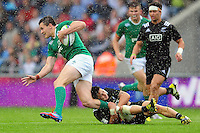 Jacob Stockdale of Ireland U20 goes on the attack. World Rugby U20 Championship match between New Zealand U20 and Ireland U20 on June 11, 2016 at the Manchester City Academy Stadium in Manchester, England. Photo by: Patrick Khachfe / Onside Images