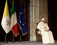 Pope Francis listens to talian President Sergio Mattarella as he delivers his speech during their meeting at the Quirinale presidential palace, in Rome, on June 10, 2017.<br /> UPDATE IMAGES PRESS/Isabella Bonotto<br /> STRICTLY ONLY FOR EDITORIAL USE