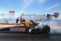 Feb 4, 2016; Chandler, AZ, USA; NHRA top fuel driver Steve Torrence during pre season testing at Wild Horse Pass Motorsports Park. Mandatory Credit: Mark J. Rebilas-USA TODAY Sports