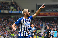 Neal Maupay of Brighton and Hove Albion celebrates after scoring the first goal during Brighton & Hove Albion vs Tottenham Hotspur, Premier League Football at the American Express Community Stadium on 5th October 2019