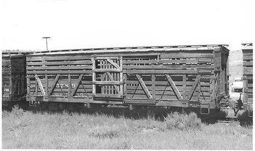 Stock car #5789 at Lumberton.<br /> D&amp;RGW  Lumberton, NM  Taken by Maxwell, John W. - 8/16/1967