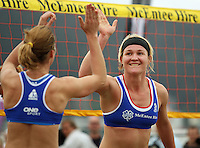 Germany's Helke Classen (right) celebrates winning a point with teammate Okka Rau during the 2009 McEntee Hire NZ Beach Volleyball Tour - Women's final at Oriental Parade, Wellington, New Zealand on Sunday, 11 January 2009. Photo: Dave Lintott / lintottphoto.co.nz.