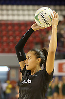 JOHANNESBURG, SOUTH AFRICA - JANUARY 25: Maria Folau of the Silver Ferns warming up during the Netball Quad Series netball match between Spar Proteas and Silver Ferns at the Ellis Park Arena in Johannesburg. Mandatory Photo Credit: ©Reg Caldecott/Michael Bradley Photography