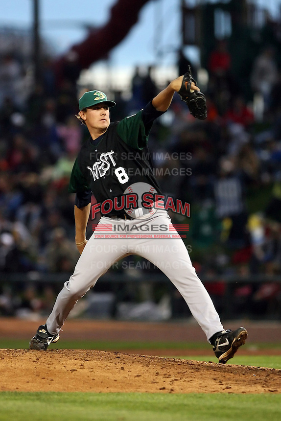 June 17th 2008:  Steven Hirschfeld of the Beloit Snappers, Class-A affiliate of the Minnesota Twins, during the Midwest League All-Star Game at Dow Diamond in Midland, MI.  Photo by:  Mike Janes/Four Seam Images