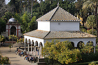High angle view of pavilions in the Garden, Real Alcazar, Seville, Spain, pictured on December 26, 2006, in the afternoon. The Real Alacazar was commissioned by Pedro I of Castile in 1364 to be built in the Mudejar style by Moorish craftsmen. The palace, built on the site of an earlier Moorish palace, is a stunning example of the style and a UNESCO World Heritage site. The gardens are a mixture of French, Moorish and Renaisance styles. Picture by Manuel Cohen.