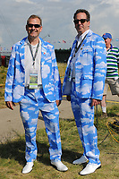 Two avid golf fans dressed in partly cloudy suits during the Wednesday practice day of the 117th U.S. Open, at Erin Hills, Erin, Wisconsin. 6/14/2017.<br /> Picture: Golffile | Ken Murray<br /> <br /> <br /> All photo usage must carry mandatory copyright credit (&copy; Golffile | Ken Murray)