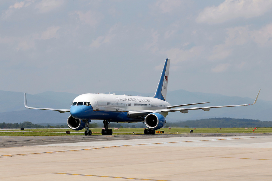 President Barack Obama's plane lands at the Charlottesville/Albemarle Airport in Charlottesville, VA.
