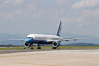 President Barack Obama's plane lands at the Charlottesville/Albemarle Airport in Charlottesville, VA.