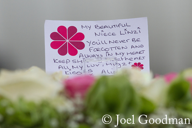 © Joel Goodman - 07973 332324 . 09/08/2013 . Salford , UK . Flowers and tributes . The funeral of Linzi Ashton at St Paul's C of E Church in Salford , today (9th August 2013) . Linzi Ashton (25) was found murdered in her home on Westbourne Road in Salford on 29th June . Michael Cope is standing trial, accused of murdering, raping and assaulting her . Photo credit : Joel Goodman
