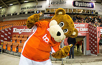 Blackpool Mascot 'Bloomfield Bear' gives thumbs up ahead of the The Checkatrade Trophy match between Blackpool and Wycombe Wanderers at Bloomfield Road, Blackpool, England on 10 January 2017. Photo by Andy Rowland / PRiME Media Images.