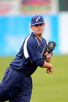 Pensacola Blue Wahoos pitcher Chad Rogers #18 during practice before a game against the Mobile BayBears on April 14, 2013 at Hank Aaron Stadium in Mobile, Alabama.  Mobile defeated Pensacola 5-2.  (Mike Janes/Four Seam Images)