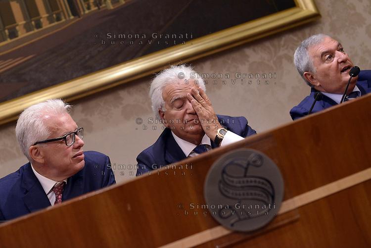 Roma 29 Luglio 2015.<br /> Lucio Barani, Denis Verdini, Vincenzo D'Anna.<br /> Conferenza stampa in senato per la presentazione del nuovo gruppo Alleanza Liberalpopolare-Autonomie, ALA.
