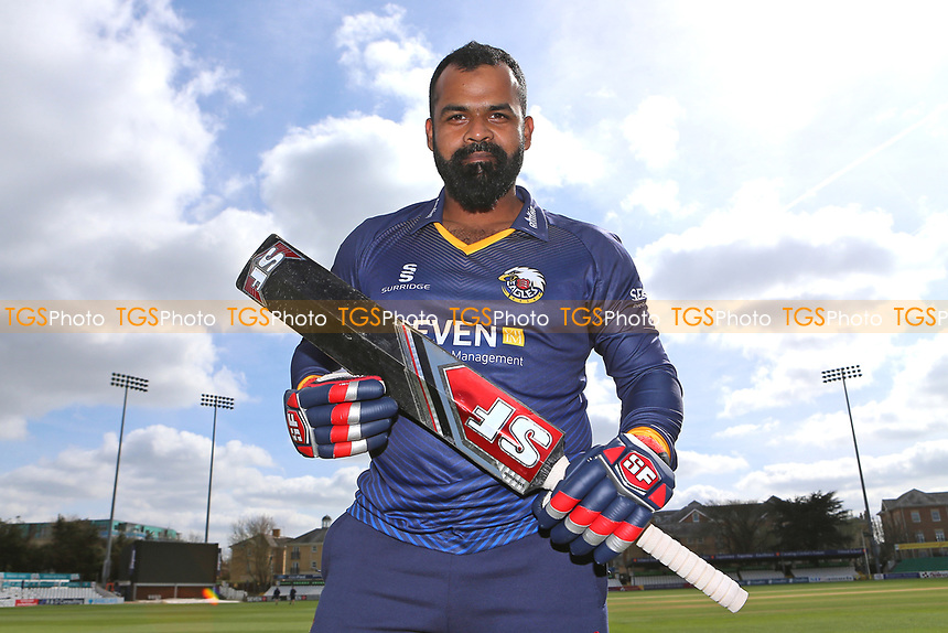 Ashar Zaidi of Essex poses with his famous black bat during the Essex CCC Press Day at The Cloudfm County Ground on 5th April 2017