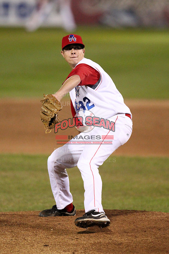 Auburn Doubledays pitcher Richie Mirowski #32 during game one of the NY-Penn League Championship Series against the Staten Island Yankees at Falcon Park on September 12, 2011 in Auburn, New York.  Staten Island defeated Auburn 9-2.  (Mike Janes/Four Seam Images)