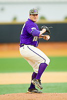 Western Carolina Catamounts starting pitcher Jacob Hoyle (27) in action against the Wake Forest Demon Deacons at Wake Forest Baseball Park on March 26, 2013 in Winston-Salem, North Carolina.  The Demon Deacons defeated the Catamounts 3-1.  (Brian Westerholt/Four Seam Images)