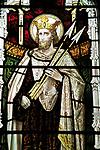 Saint Edmund stained glass window, Church of Saint Mary, Swilland, Suffolk, England, UK