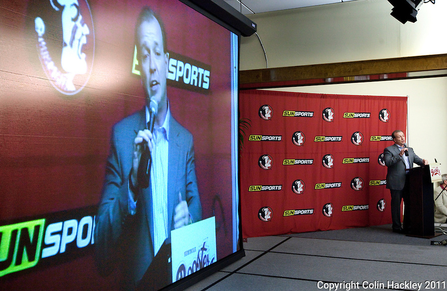 TALLAHASSEE, FLA. 2/2/11-FSUSIGN020211CH-Head Coach Jimbo Fisher talks about his latest recruiting class during the 2011 national signing day war party in Tallahassee...COLIN HACKLEY PHOTO