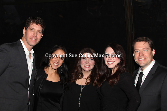 """The family of Ron Sharpe and wife Barbra Russell and daughter Samantha who are parents of twins Aiden & Connor who played """"Trevor Martin"""" on All My Children pose with James Barbour star of Broadway's Phantom of the Opera is awarded the Shining Star Award - The 29th Annual Jane Elissa Extravaganza which benefits The Jane Elissa Charitable Fund for Leukemia & Lymphoma Cancer, Broadway Cares and other charities on November 14, 2016 at the New York Marriott Hotel, New York City presented by Bridgehampton National Bank and Walgreens. General Hospital's Jacklyn Zeman is the Honorary Chairman. The event is a Cabaret with Broadway singers - James Barbor """"Phanom"""" in The Phantom of the Opera"""" (Photo by Sue Coflin/Max Photos)"""