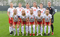 20190409 - TUBIZE , Belgium : Polish team with Weronika Baranowska (1) , Joanna Weclawek (3) , Olga Sirant (4) , Weronika Helinska (8) , Karolina Tylak (9) , Weronika Wojcik (10) , Paulina Filipczak ( 11) , Karolina Majda (14) , Angelika Kolodziejek (16) , Jessica Pluta (19) and Alexis Legowski (20) pictured posing for the teampicture prior to a women soccer game between the under 19 teams of Belgium and Poland. This is the Third and final game in their elite round qualification for the European Championship in Schotland 2019. The Belgian national women's soccer team is called the Red Flames, on the 9 th of April in Tubize. PHOTO DAVID CATRY | Sportpix.be