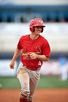 Palm Beach Cardinals third baseman Danny Diekroeger (4) running the bases during a game against the Charlotte Stone Crabs on April 12, 2017 at Charlotte Sports Park in Port Charlotte, Florida.  Palm Beach defeated Charlotte 8-7 in ten innings.  (Mike Janes/Four Seam Images)