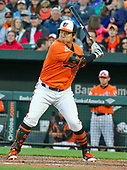 Baltimore Orioles left fielder Hyun Soo Kim (25) bats in the seventh inning against the New York Yankees at Oriole Park at Camden Yards in Baltimore, MD on Saturday, April 8, 2017.  The Orioles won the game 5 - 4.<br /> Credit: Ron Sachs / CNP<br /> (RESTRICTION: NO New York or New Jersey Newspapers or newspapers within a 75 mile radius of New York City)