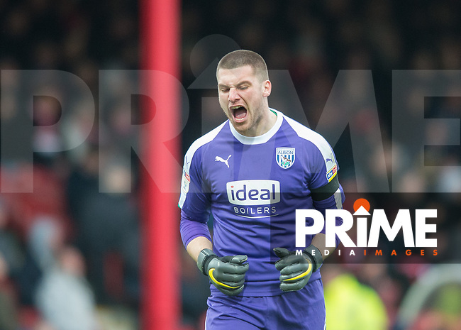 WBA's Sam Johnstone during the Sky Bet Championship match between Brentford and West Bromwich Albion at Griffin Park, London, England on 16 March 2019. Photo by Andrew Aleksiejczuk / PRiME Media Images.