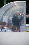England 1 Scotland 0, 22/05/2008. Llanelian Road, Old Colwyn, Four Nations Semi-Professional Tournament. England manager Paul Fairclough taking a drink of water in the dugout as his team plays Scotland in the Four Nations Semi-Professional tournament at Colwyn Bay, in a game won 1-0 by the English. The tournament was established in 2002 and was held on an annual basis featuring teams from England, Scotland and Wales and an invited team, on this occasion Gibraltar. The tournament is hosted on a rotational basis and in 2008 games were staged at Colwyn Bay FC, Rhyl FC and The New Saints ground in Oswestry. Photo by Colin McPherson.
