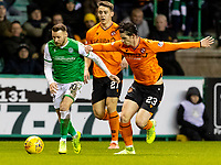 28th January 2020; Easter Road, Edinburgh, Scotland; Scottish Cup replay, Football, Hibernian versus Dundee United; Ian Harkes of Dundee United fouls Martin Boyle of Hibernian in the box