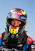 Sep 6, 2015; Clermont, IN, USA; NHRA top fuel driver Clay Millican during qualifying for the US Nationals at Lucas Oil Raceway. Mandatory Credit: Mark J. Rebilas-USA TODAY Sports
