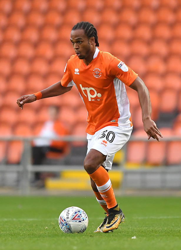 Blackpool's Nathan Delfouneso on the ball<br /> <br /> Photographer Dave Howarth/CameraSport<br /> <br /> The EFL Checkatrade Trophy - Blackpool v Wigan Athletic - Tuesday 29th August 2017 - Bloomfield Road - Blackpool<br />  <br /> World Copyright &copy; 2018 CameraSport. All rights reserved. 43 Linden Ave. Countesthorpe. Leicester. England. LE8 5PG - Tel: +44 (0) 116 277 4147 - admin@camerasport.com - www.camerasport.com